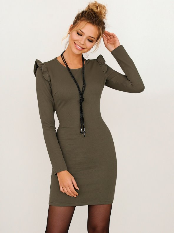 Women's elastic Ottoman knit dress with flounce on the shoulder