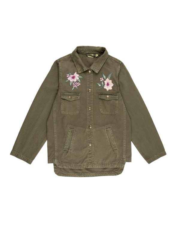 Girl's jacket with embroidered flower details on the chest NAME IT