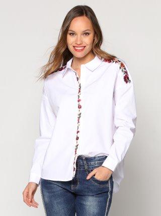 Camisa de mujer con bordado flores en hombros