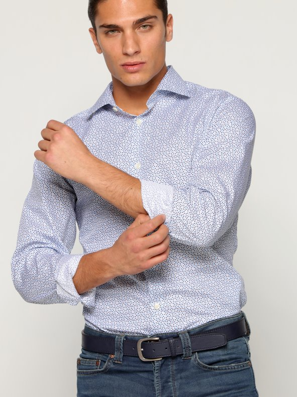 Camisa manga larga hombre micro tréboles SELECTED