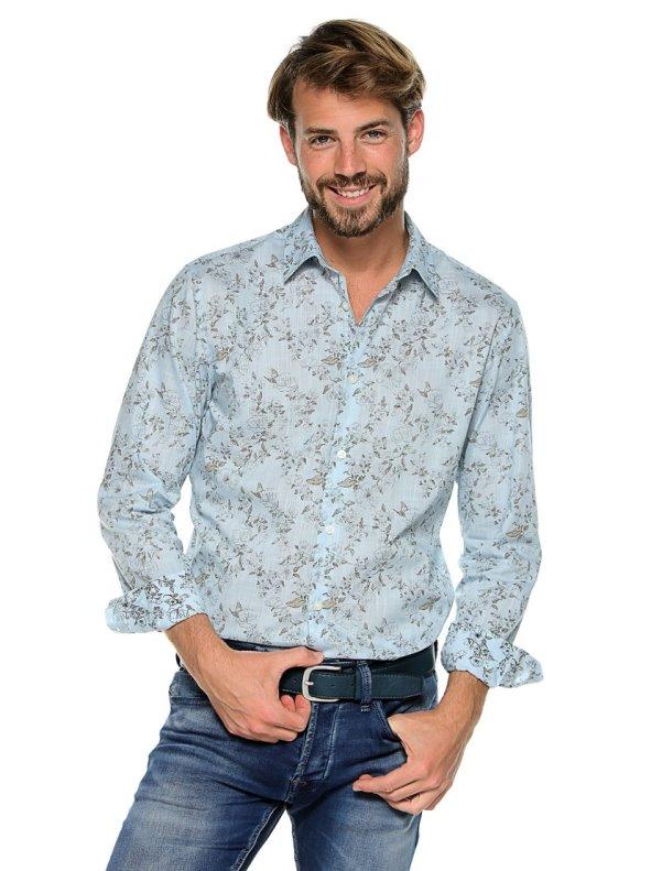 Long sleeve shirt slim fit printed flowers SELECTED