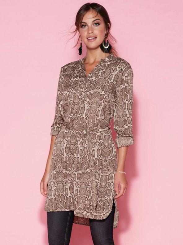 Animal print shirt dress with belt