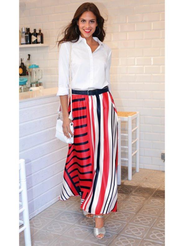 Long satin skirt printed evasé line
