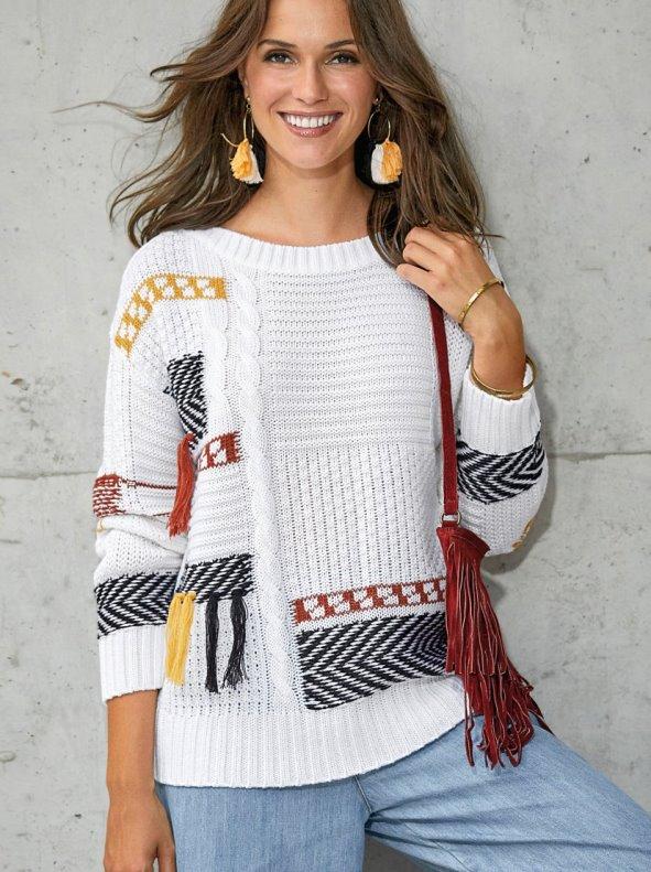 Jersey con borlas y tricot intarsia de fantasía