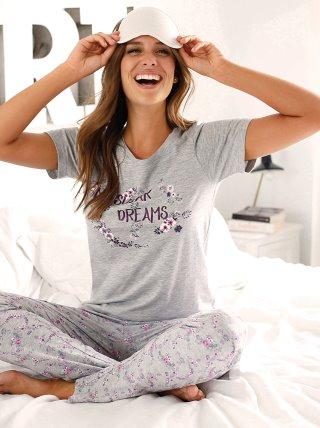 Pijama manga corta y pantalón largo print flores VENCA