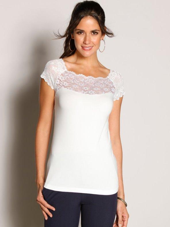 Camiseta canesú y encaje semitransparente VENCA