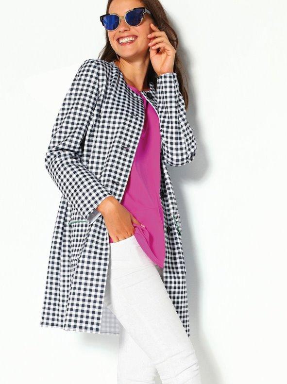 Checked coat in elastic neoprene knit