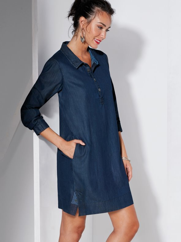 Denim dress with contrast poplin