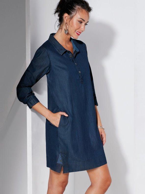 Vestido en tejido denim con popelín a contraste VENCA