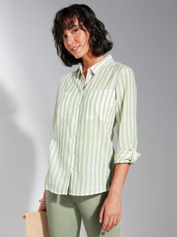 Striped shirt with plastron pockets