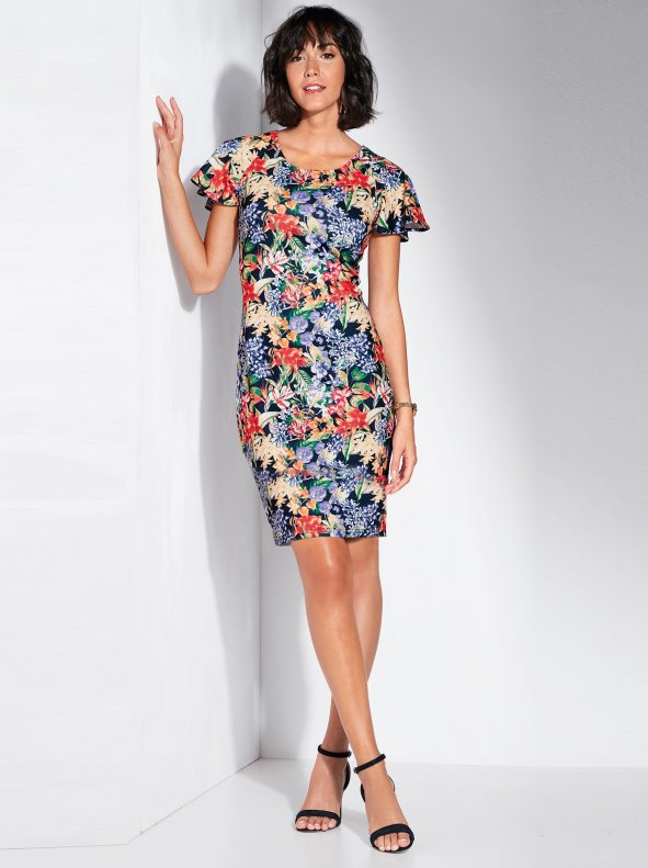 Elastic milano dot floral print dress