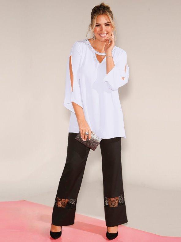 Party pants with lace Plus sizes BELLÍSIMA