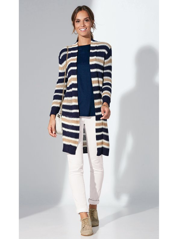 Long cardigan jacket stripes fantasy point