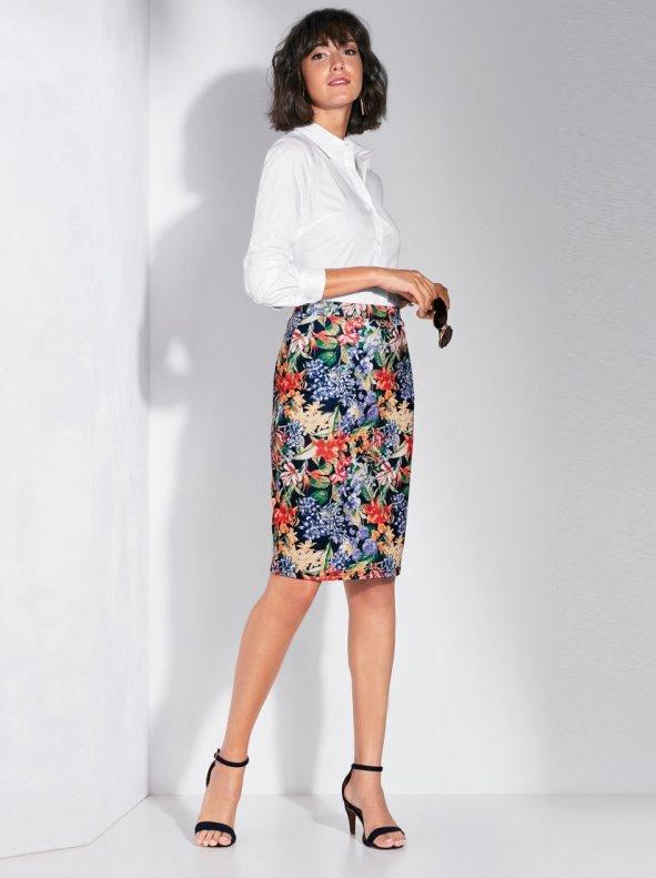 Elastic milano dot printed brush skirt