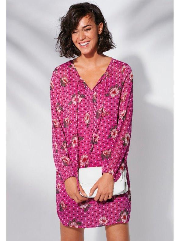 Chiffon print dress with lining
