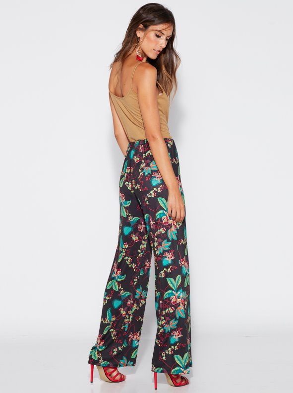 Straight palazzo trousers with flower print. VENCA
