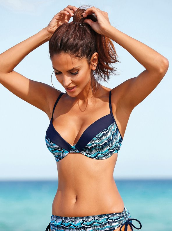 Bikini top with underwire and contrasting band VENCA