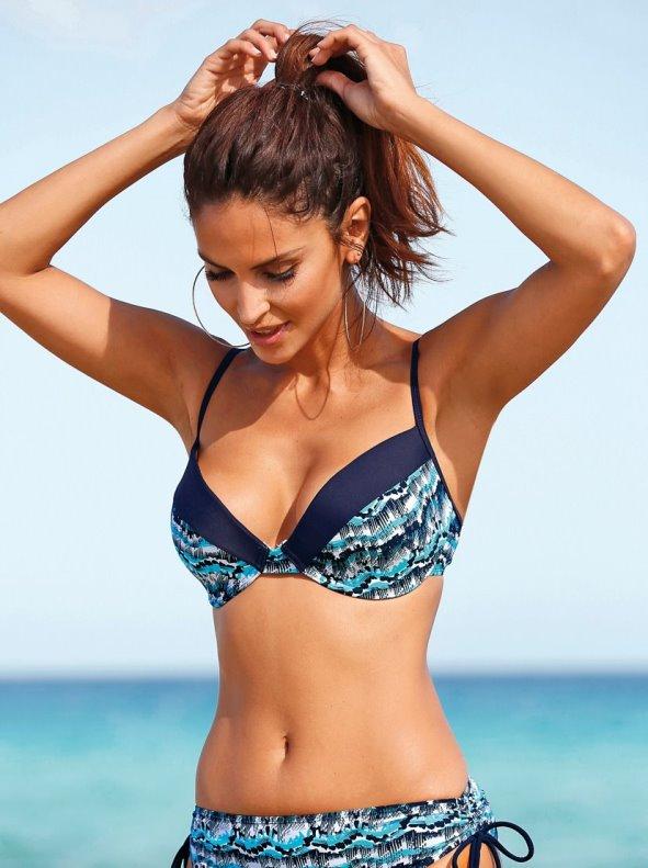 Sujetador bikini con aros banda a contraste