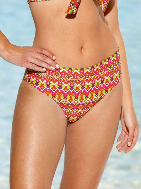 High-waisted bikini bottom in multicoloured print VENCA