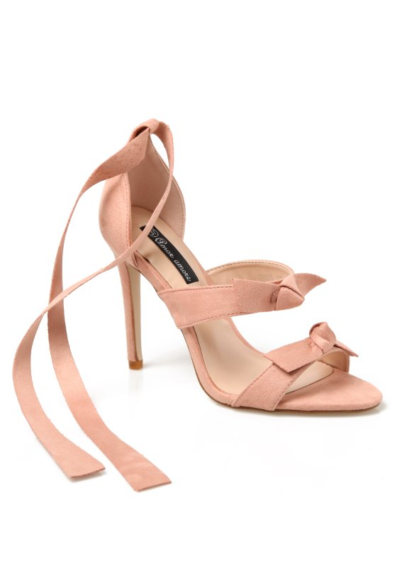 High heel sandals with suede finish