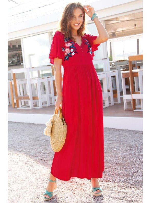 Long embroidered cape-sleeve crinkle crepe dress VENCA