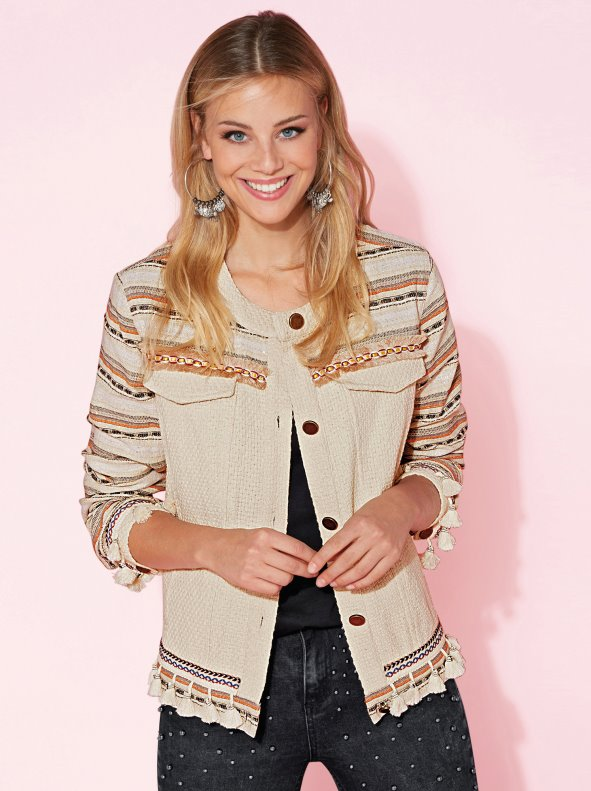 Bimaterial jacket with ribbons and tassels