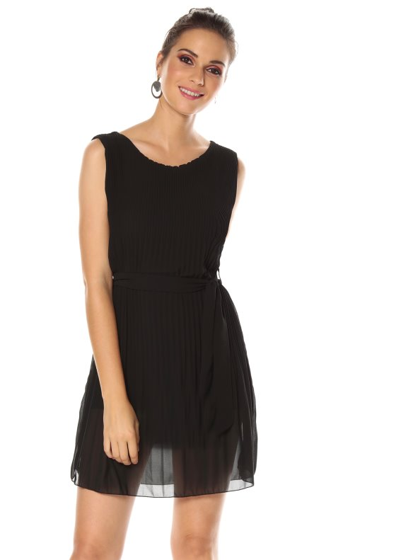 Women's pleated crepe gauze fabric party dress with belt loops and belt