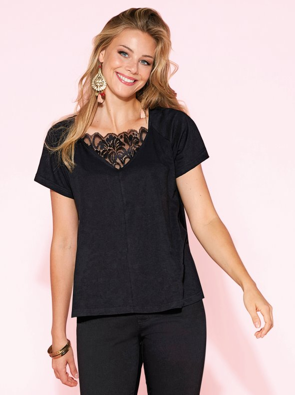 Short sleeve t-shirt with lace at the neckline VENCA
