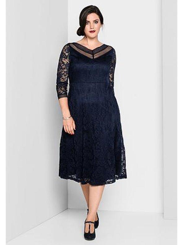 1999b081a Vestido fiesta mujer con encaje tallas grandes SHEEGO - Venca - 026884
