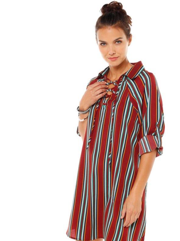 Vestido camisero con cintas cruzadas tejido raya