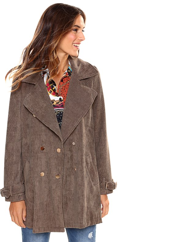Cross-over corduroy coat with lapel collar