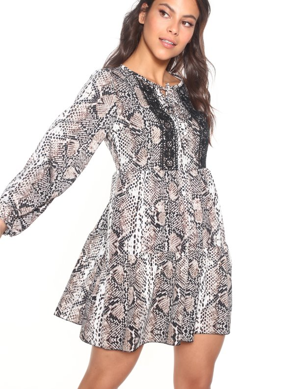 Dress animal print snake with guipur TREND CAPSULE