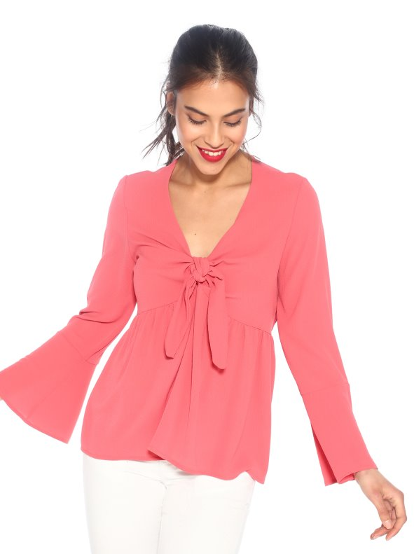 Crepe blouse with V-neckline and lace TREND CAPSULE PREMIUM