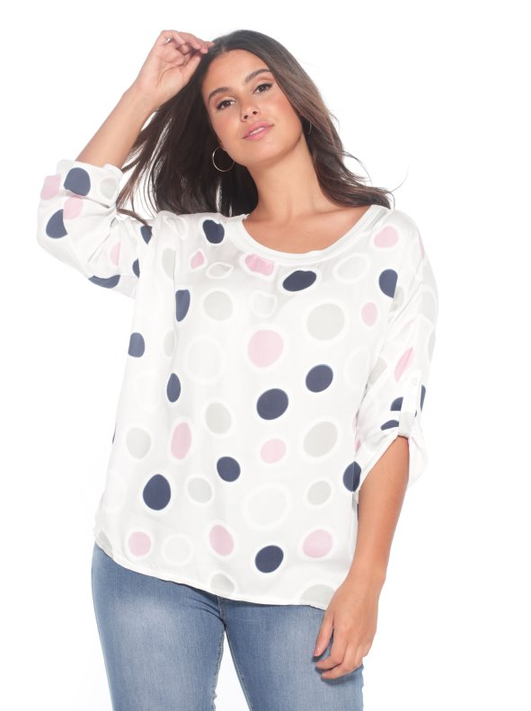 Polka dots blouse plus size CHIC SIZE: L-4XL