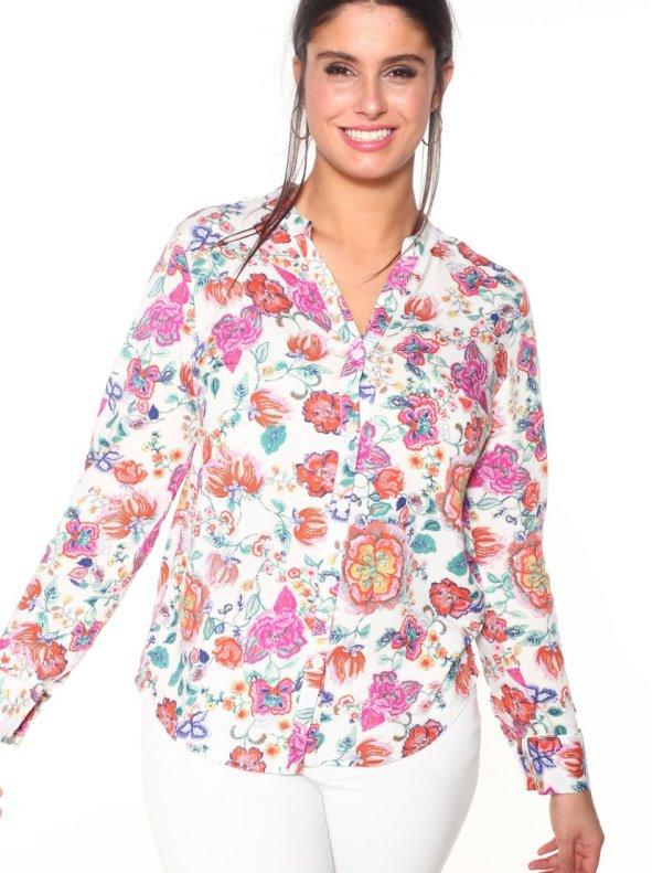 Camisa de flores tallas grandes crudo estampado 48