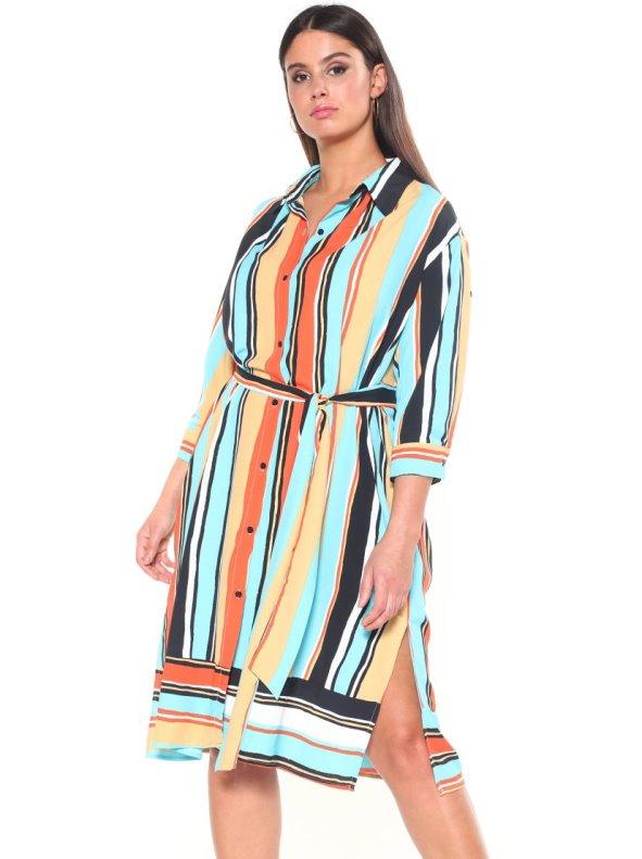 4257bc2d8 Vestido de rayas tallas grandes CHIC SIZE: L-4XL - Venca - 037057