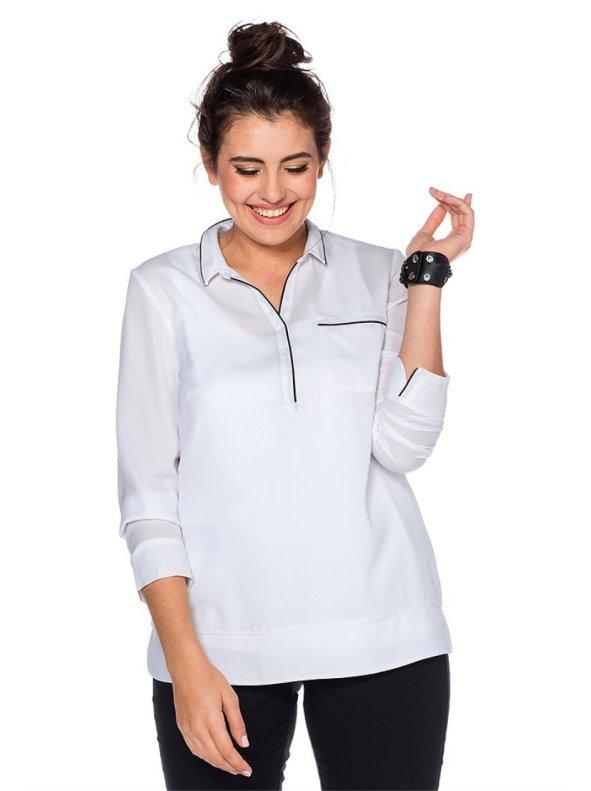 694be3cf55f Blusa blanca manga larga mujer SHEEGO - Venca - 063184