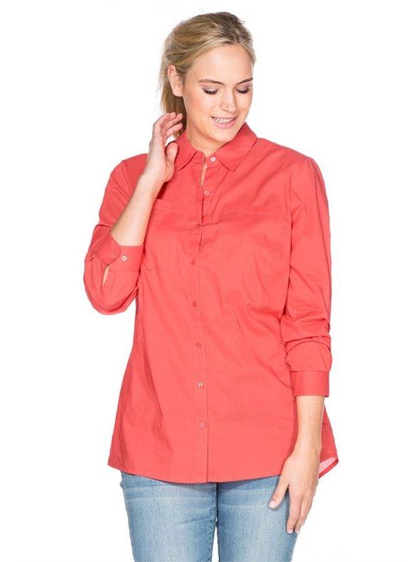 Blusa de color coral manga larga mujer SHEEGO