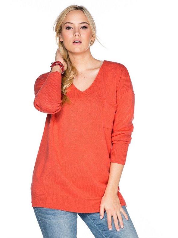 Jersey mujer escote pico en color coral SHEEGO