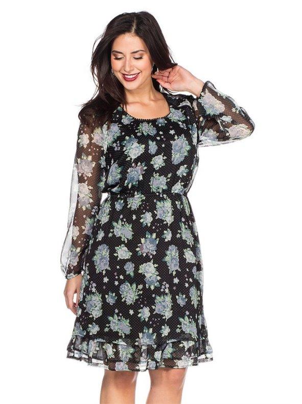Vestido chifón con flores y puntitos mujer SHEEGO