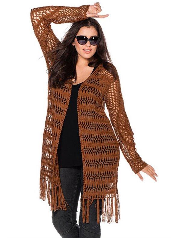 Chaqueta larga boho calada con flecos mujer marrón 44