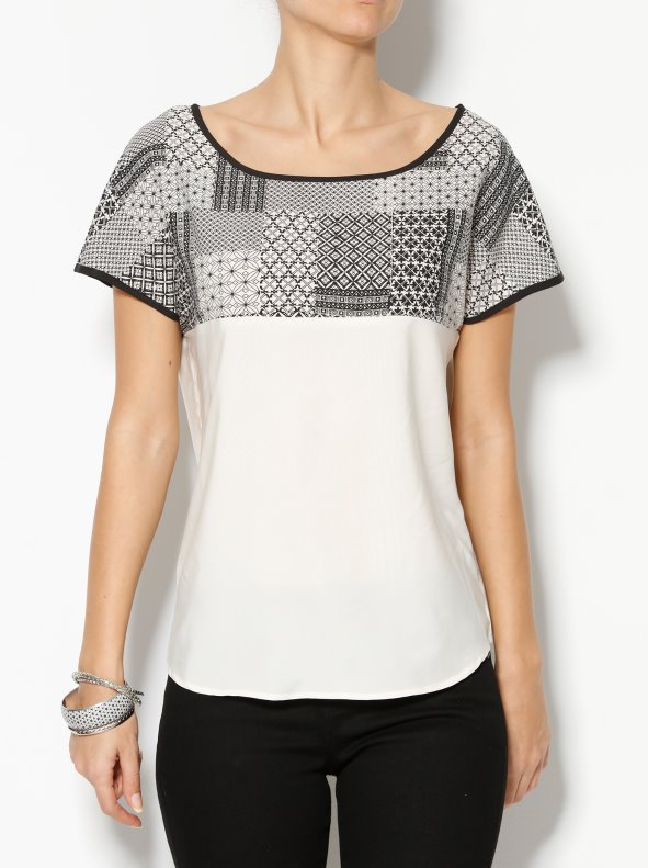 Short sleeves blouse with stamped mosaic