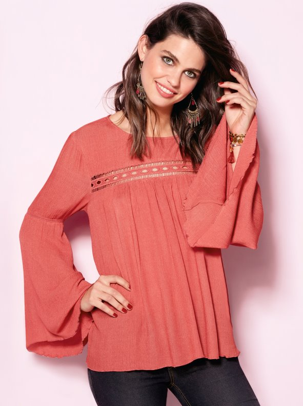 Women's blouse with guipure braid and flared long sleeves