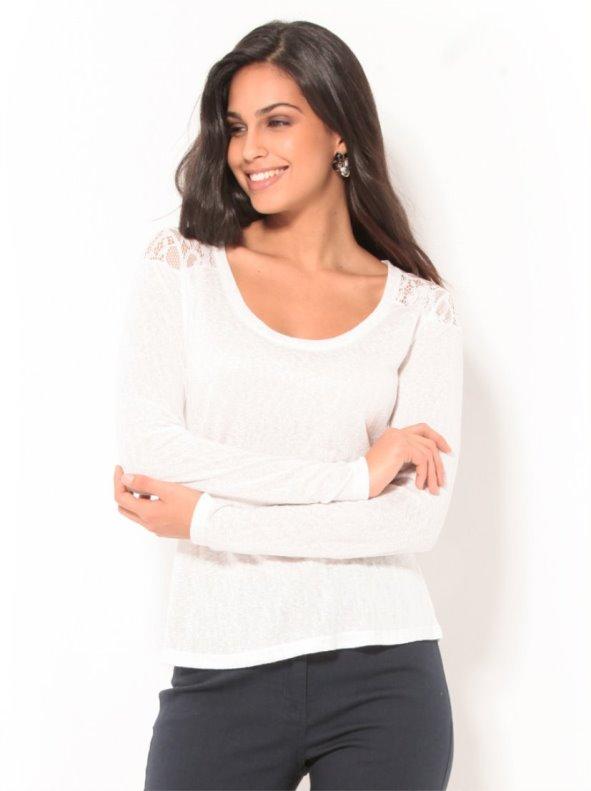 Camiseta mujer manga larga con canesú en blonda blanca