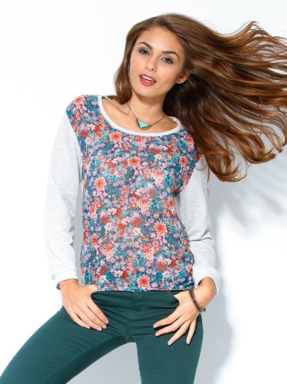 Sudadera mujer manga larga felpa con estampado flores