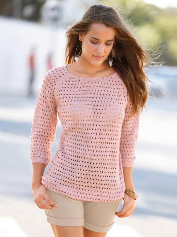 Jersey mujer manga 3/4 tricot calado rosa XXL