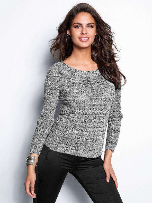 Jersey mujer tricot con canalé jaspeado