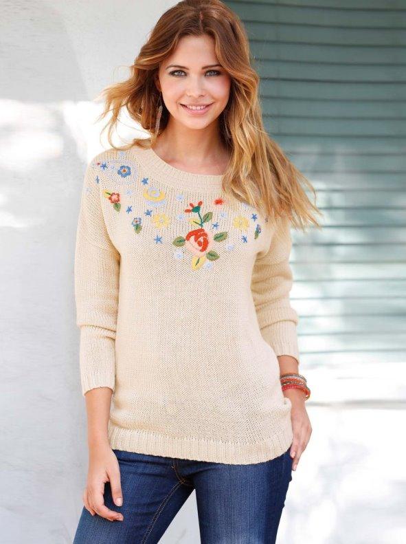 Jersey mujer manga larga con bordado tricot VENCA