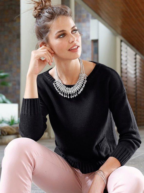 Jersey mujer de algodón con pequeños bolsillos frontales