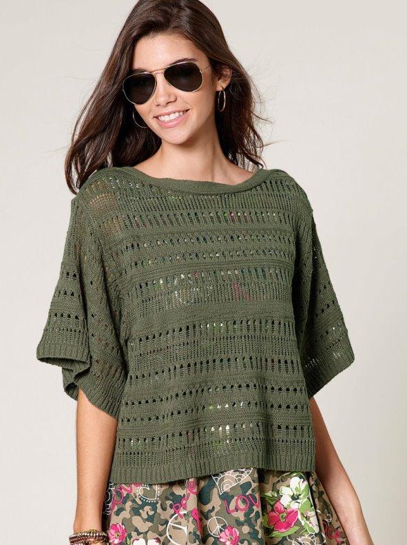 Jersey mujer manga 3/4 tricot calado con canalé